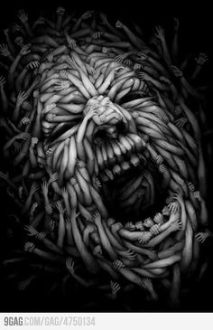 black and white art - bizarre Screaming Arms - fantastic pin...wow...very nice....my favorite image...thanks mister Guilherme Jardim - thanks thanks thanks