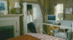 Example of built in drawers for bedrooms or dresser size.  Example of chair size for master bedroom.  The Holiday movie cottage Iris's bedroom built in