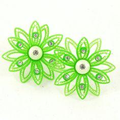 Vintage 1960s Earrings Green Plastic Flowers by Revvie1 on Etsy, $10.00