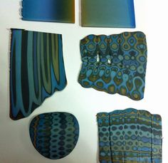 Blue to green skinner blend canes ~ plus using ripple blade to get different variations from Libby Mills