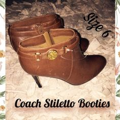 COACH STILETTO BOOTIES ANKLE BOOTS LEATHER BROWN ! COACH STILLETO BOOTIE ANKLE BOOTS SIZE 6! STUNNING! COACH EMBLEM ON EACH BOOT. PAIR WITH SKINNY JEANS FOR FALL!  BRAND NEW IN MINT CONDITION! BUNDLE & SAVE! HAPPY POSHING! Coach Shoes Ankle Boots & Booties