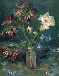 """"""" Vincent Van Gogh Small bottle with peonies and blue delphiniums """""""