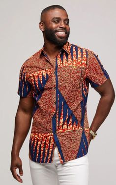 Modern African Clothing for Men! Shop our full selection of men's dashikis, African print bow ties, and African print tops. African Wear Styles For Men, African Shirts For Men, Ankara Styles For Men, African Print Fashion, African Tops, African Style, African Beauty, African Shirt Dress, African Print Shirt