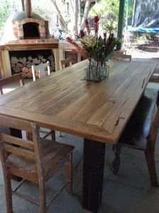 Dining Table with square metal legs. Gonna make one of these..