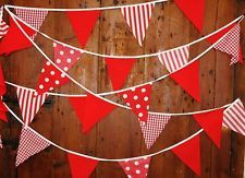 39FT 10mtrs FABRIC BUNTING RED STRIPES SPOTS GINGHAM BIRTHDAY WEDDINGS PARTY
