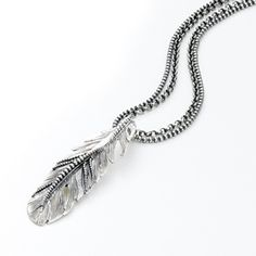 Oxidised Feather Pendant by Najo.