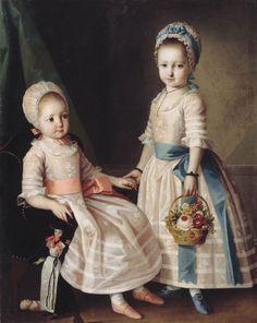 Retrato de duas irmãs por Carl Ludwig Christinec de 1772 a Rússia (atual Belarus), National Arts Museum da República de Belarus