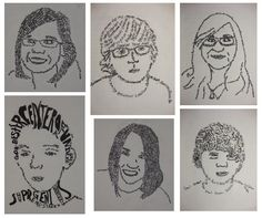 Take photo of the face, trace outline, and fill in with words. .... Art. Paper. Scissors. Glue!: Micrography Portrait