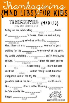 Thanksgiving Mad Libs for kids {Printable}