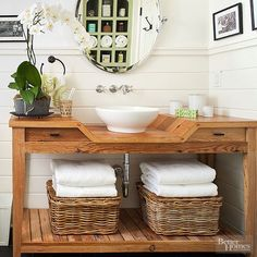 Refinish a flea market find, update an existing stock cabinet, or upgrade a retail table for a personalized vanity you& love. Let these stylish ideas for a DIY bathroom vanity be your inspiration. Bathroom Vanity Makeover, Rustic Bathroom Vanities, Wood Bathroom, Vanity Sink, Bathroom Wainscotting, Wainscoting Height, Black Wainscoting, Wainscoting Nursery, Painted Wainscoting