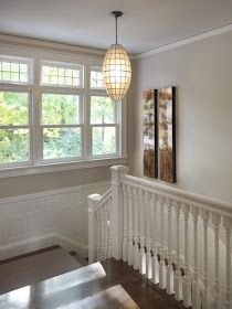 Benjamin Moore Grant Beige shown in a hallway and stairwell is a neutral beige paint colour with very little undertone. by Rachel Reider Interiors Benjamin Moore Beige, Beige Paint Colors, Paint Colors For Home, Neutral Paint, Beige Color, Gray Paint, Room Colors, House Colors, Living Room Paint