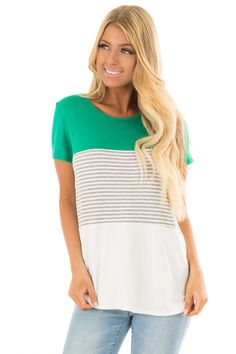 890584afb8f3 Lime Lush Boutique - Kelly Green Striped Color Block Top, $34.99 (https:/