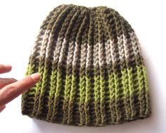 The Grass - crochet beanie hat for men and women merino wool yarn New Item from nadiahandmade