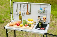 Camping Table - Thinking About Camping? Camping With Kids, Family Camping, Tent Camping, Qi Gong, Camping Table, Camping Kitchen, Camping Accessories, Happy Campers, Kitchen Cart