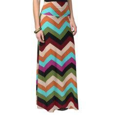 Amazon.com: Brinley Co. Juniors Fold-over Chevron Print Maxi Skirt: Clothing
