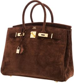 Hermes 35cm Chocolate Veau Doblis Suede Birkin Bag with GoldHardware