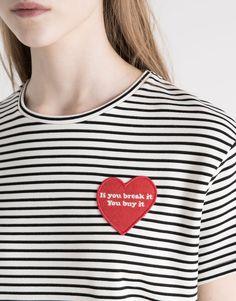HEART PATCH T-SHIRT - T-SHIRTS & TOPS - WOMAN - PULL&BEAR Turkey