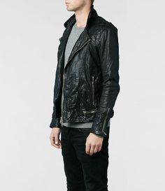 AllSaints Conroy Leather Biker Jacket | Mens Leather Jackets