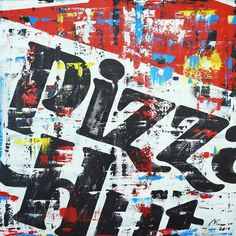 """Marwan Chamaa, """"Pizza Hut"""", 2019, acrylic on canvas, 91.50 x 91.50 cm (36 x 36 inch). All images are used with the permission by the artist. Re-Pinning is permitted, however, please do not distribute, reproduce, reuse in any shape or form without first contacting the artist: marwan@art-factory.us © Marwan Chamaa Pizza Hut, First Contact, Being Used, Reuse, Shapes, Canvas, Gallery, Artist, Image"""