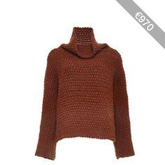 Rosetta Getty Chunky Merino Wool Hand Knit Turtleneck Pullover