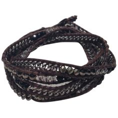 Pre-owned Chan Luu Wrap Bracelet ($124) ❤ liked on Polyvore featuring jewelry, bracelets, accessories, brown, preowned jewelry, beaded jewelry, pre owned jewelry, leather bangle and brown jewelry
