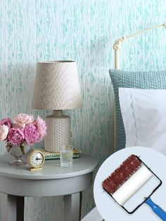 Brighten up the wood grain motif on this patterned paint roller with a happy hue.