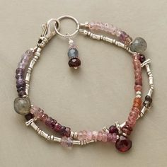 Purple Procession Bracelet: Labradorites lend iridescence to our double-strand cavalcade of multicolored spinels, garnets and sterling silver beads. Exclusive with toggle clasp. Beaded Wrap Bracelets, Gemstone Bracelets, Handmade Bracelets, Gemstone Jewelry, Jewelry Bracelets, Jewelery, Strand Bracelet, Necklaces, Boho Jewelry
