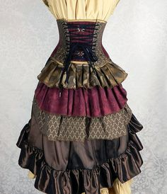 "Ruffle Bustle Overskirt - 3 Layer, Sz. XS - Burgundy, Antique Gold, Brown, & Black - Fits up to 36"" Waist"