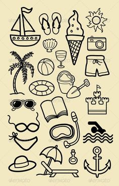 sketches nice drawing doodle icon symbol easy drawings activity icons any depositphotos doodles use skizzen spiaggia sommer estate ikonen strand
