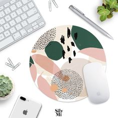 Pink And Green Pastel Mouse Pad Desk Accessories Circle