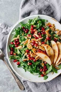 Pomegranate Pecan Salad w/ Cinnamon Apples! Healthy, vegan, vegetarian, gluten-free, and under 10 minutes!
