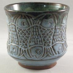 Blue Carved Fish Teabowl by PamBailey on Etsy, $20.00