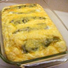 Chiles Rellenos Bake - Good way to make them all at once :) muy buena Authentic Mexican Recipes, Mexican Food Recipes, Great Recipes, Favorite Recipes, Simple Recipes, Green Chili Recipes, Stuffed Chili Relleno Recipe, Chili Relleno Casserole, Chilli Relleno Recipe