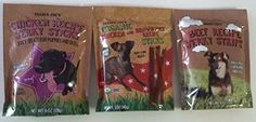 Trader Joe's Dog Treats - 3 Packages - (1 Chicken Jerky Strips, 1 Chicken and Brown Rice Sticks, 1 Beef Jerky Strips)