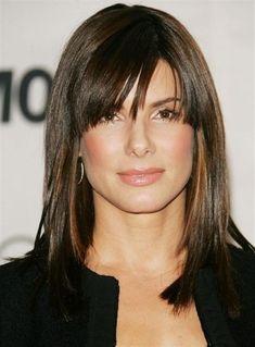 Sandra Bullock con pelo mediana | ... de como llevar el Pelo largo de moda con flequillo - Invierno 2013