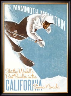 MAMMOTH LAKES, CA: cool vintage repro of Mammoth Mountain ski Area poster. @Rhonda Black-Fry Posters.co.uk