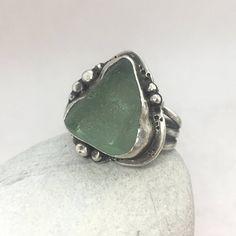 Sea Glass Ring, Size Fits like a 9 1/2, Sterling Silver, Seaglass, Sea Foam Green, Rare, Beach Jewelry, Genuine, Unique, Rustic, Mermaid