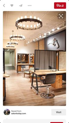 Salon of Distinction: Sine Qua Non Salon, West Town - Chicago, IL. beautiful wish our salon looked like this Hair Salon Interior, Home Salon, Spa Design, Salon Design, Salon Lighting, Ceiling Lighting, Lighting Ideas, Salon Stations, West Town