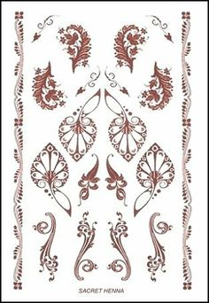 "Sacred Henna Temporaray Tattoo by Tattoo Fun. $4.95. This 4"" x 6"" sheet of temporary tattoos contains henna colored designs. There is one henna patterned armband and eight different individual henna designs. The designs are in beautiful patterns of swirling leaves and decorative fans. Perfect for the henna lover."