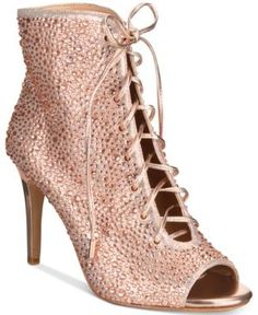 INC Rikelie Evening Peep-Toe Lace-Up Booties, Created for Macy's - Pink 10.5M