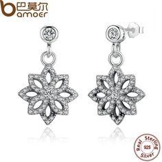 e15e52d1d BAMOER Vintage 925 Sterling Silver Lace Botanique, Clear CZ Floral Motif  Drop Earrings for Women Jewelry PAS432. Girls EarringsStud ...