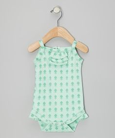 Take a look at this Aqua Fleur Plume Pleated Organic Tank Bodysuit - Infant by Kate Quinn Organics on #zulily today!