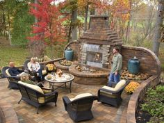 Concrete Patios with Brick Fireplace | Landscaping design examples of outdoor patio fireplaces made out of ...