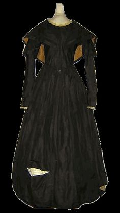 1845 Silk Dress with Berthe