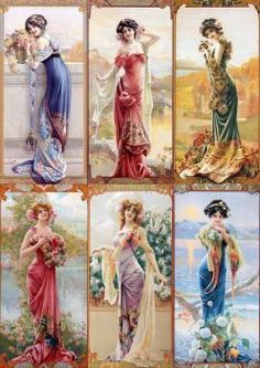 Six Ladies - Counted Cross Stitch Patterns - Printable Chart PDF Format Needlework Embroidery Crafts DIY DMC color Vintage Pictures, Vintage Images, Cross Stitch Kits, Cross Stitch Patterns, Embroidery Patterns, Hand Embroidery, Vintage Prints, Vintage Art, Victorian Paintings