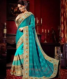 Buy Aqua Georgette Embroidery Work Wedding Saree 71296 with blouse online at lowest price from vast collection of sarees at Indianclothstore.com.