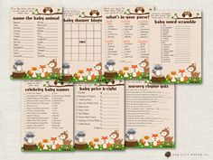 Baby Shower Games  Woodland Animal Baby by OakCityPaperCompany