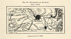 1882 Relief Line-block Map Greater Manchester City England Region Medlock XGS6