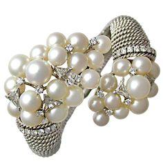 DAVID WEBB Platinum, Pearl & Diamond Cuff
