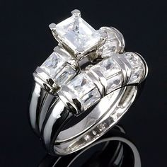 Trinity: Stunning 4.7ct Emerald cut Russian Ice CZ Wedding Ring Set - Trustmark Jewelers